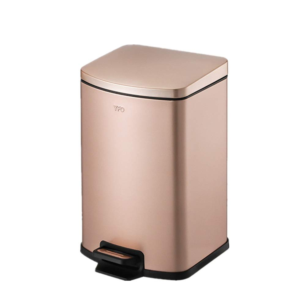 Trash can Stainless Steel Trash Can Pedal Mute Creative Anti-Fingerprint Trash Can Home Kitchen Living Room for Bathroom Kitchen Office Home Bedroom (Color : Champagne Gold, Size : 5L) by Yuybei-Home