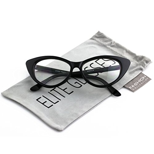 Retro 60s 70s Fashion Design Clear Lens Plastic Cat Eye Frame Women Eyeglasses (Black, - Glasses 60s Womens
