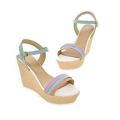 LvYuan Mujer-Tacón Cuña-Zapatos del club-Sandalias-Oficina y Trabajo Vestido Fiesta y Noche-Semicuero-Azul Rosa Morado Beige Blue