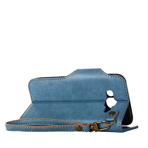 MEIRISHUN Leather Wallet Case Cover Carcasa Funda con Ranura de Tarjeta Cierre Magnético y función de soporte para Samsung Galaxy J5 - naranja Azul