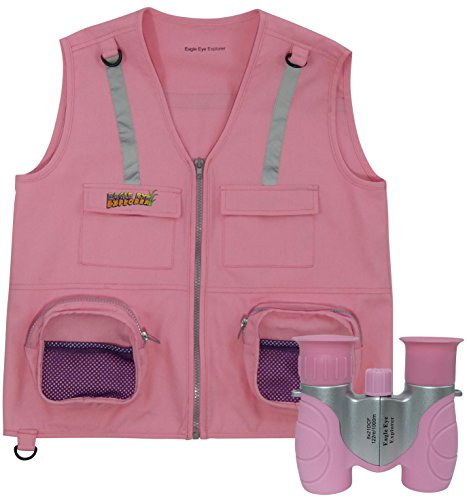 Combination Set: 1 Eagle Eye Explorer Kids Cargo Vest with Reflective Safety Straps & 1 8x21 Magnification Binoculars with Soft Rubber Eye Piece for boys & girls Waterproof & Shock-Resistant. Pink S/M (Lights Vests Safety)