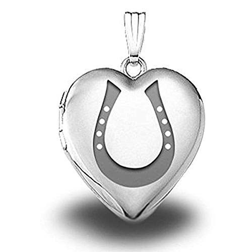 PicturesOnGold.com Sterling Silver Horseshoe Heart Locket - 3/4 Inch X 3/4 Inch with - Horseshoe Locket