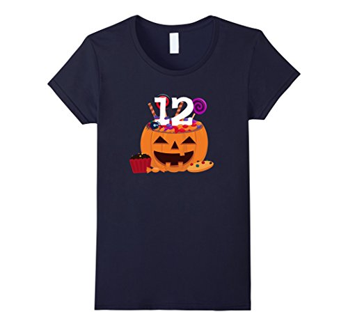 Old Navy Cupcake Costumes (Womens Pumpkin O' Lantern T-shirt 12th Birthday Kids Youth Small Navy)