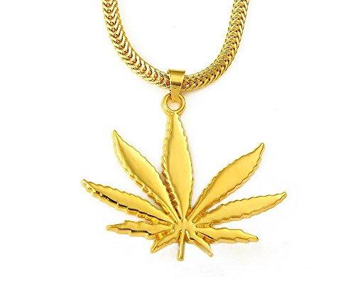 Hip-Hop 18K Gold-Plated Marijuana Leaf Pendant Necklace (24
