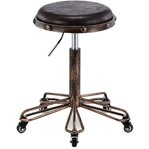 (WEIYV- Chairs,Swivel Chairs, Retro Steel Stool Lifting Gas Pressure Bar Beauty Stool Hairdressing Work Bench Beauty Chair Master (Color : Tiger Brown 34cm, Size : A))