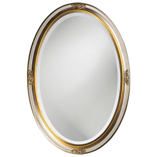 Howard Elliott Carlton Hanging Oval Wall Mirror, Vanity, Decorative, Antique Bright Silver -