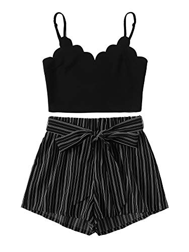 MAKEMECHIC Women's 2 Piece Outfit Summer Striped V Neck Crop Cami Top with Shorts Black#1 XS (Best Outfits For Short Women)