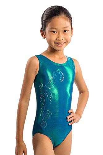 Lizatards Gymnastics Leotard Mermaid Swirl Sequin Sparkle (Adult Small, blue)
