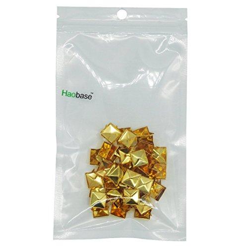 Haobase 50pcs 12mm Gold Plated Pyramid Studs Rivet Spike Nickel Punk Bag Belt Leathercraft Bracelets Clothes