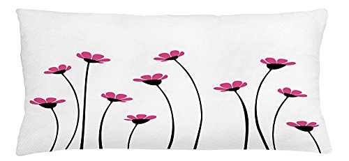 Garden Throw Pillow Cushion Cover, Pink Daisy Blossoms Flowery Field Meadow Inspired Romantic Scenic Nature Print, Decorative Square Accent Pillow Case, 30 X 20 Inches, Pink Black White -