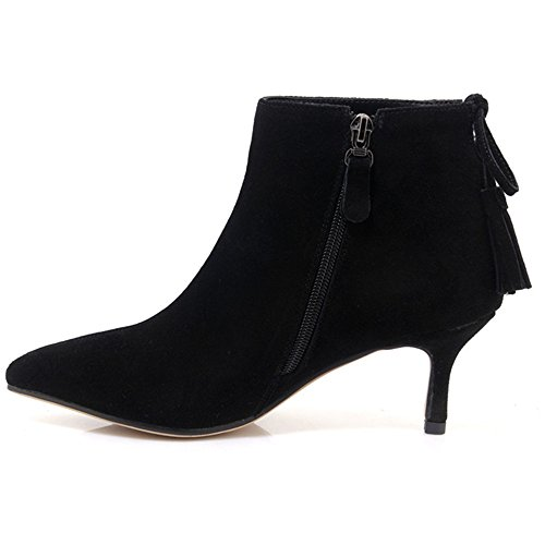 Neuf Sept Daim Cuir Bout Pointu Stiletto Talon Glands À La Main Chaussons Bottine Noir