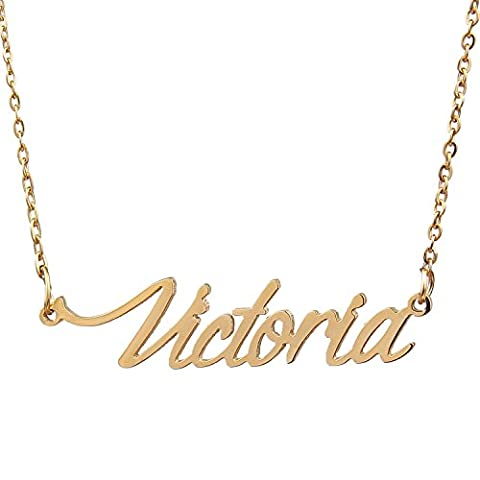 AOLO Name Necklace Gold Handwriting Necklace, Victoria (Gold Plate Chain Necklace)