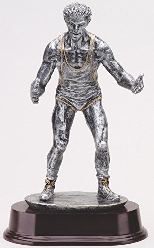 Etch Workz Customize Resin Casting Award - Silver Tone Award RF2921SG Series Wrestling Resin Trophy - Gold Plated - Engraved & Personalized Free by Etch Workz