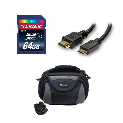 Panasonic HC-V550E Camcorder Accessory Kit includes: KSD64GB Memory Card, SDC-26 Case, HDMI3FM AV & HDMI Cable by Synergy Digital