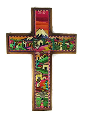 El Relicario de Los Tesoros Popotillo Stained Straw & Wood Hand Crafted Large Cross Beautiful From Popocatépetl Mexico 11.5