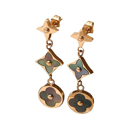 Women's Fashion Earrings Korean Style Three Icon Drop Earrings Stainless Steel Rose Gold (Black) (Fake Chanel Jewelry)