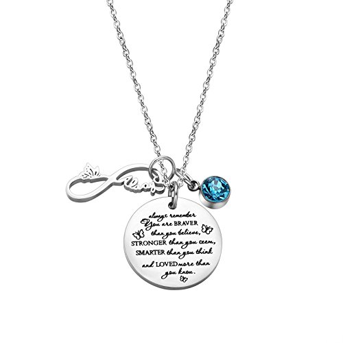 Fullrainbow Always Love Unique Design with Flower Silver Disc Engraved Pendant Birthstone Necklace For Women Girls ... (Mar)