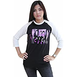 Rerock4ever Womens The Cure Rock Band Tour Concert Raglan T-Shirt (Medium)
