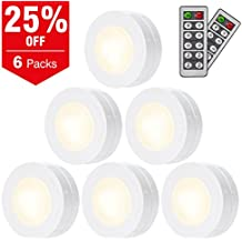 SALKING LED Under Cabinet Lighting, Wireless LED Puck Lights with Remote Control, Dimmable Closet Light, Battery Powered Under Counter Lights for Kitchen, Natural White 6 Pack