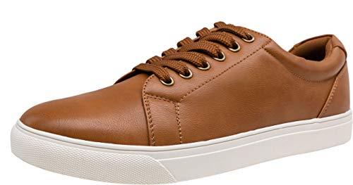 VOSTEY Men's Fashion Sneakers Classic Casual Shoes for Men (11,Yellow Brown) (Brown Casual Slip)