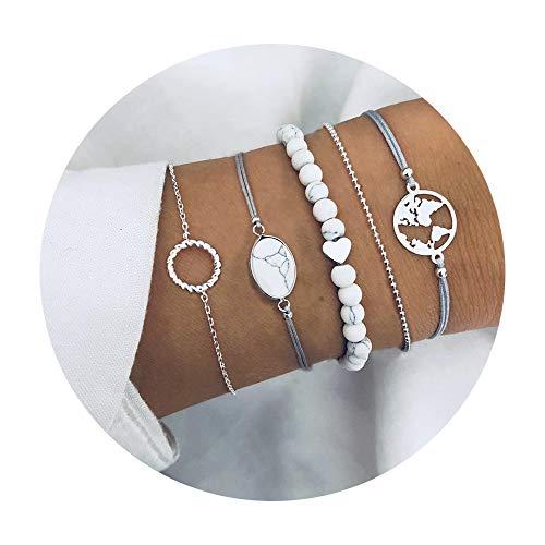 (krun Map Bracelets for Women Girls Adjustable Beaded Charm Stretch Stack Strand Bangle Bracelets)