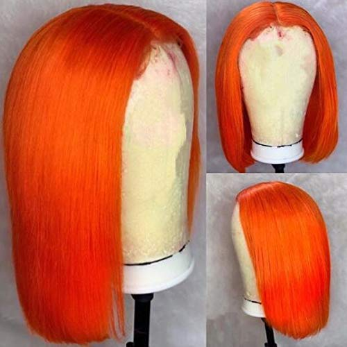 #Orange Human Hair Short Bob Lace Front Wigs 130% Density For Black Women Blunt Cut Straight Full Lace Wig with Baby Hair Bleached Knots (14, Orange color, lace front wig)