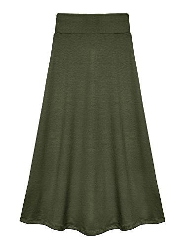 Bello Giovane Girls 7-16 Years Solid Maxi Skirt (X-Large, Army Green) -