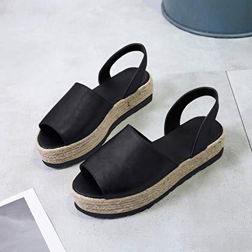 Ciabatte Solido Pom Shoes Nuovo Peep Sexy Casual Party Ihengh pom Romana Women Donna Moda Scarpe Estate Vintage Nero 2019 Zeppe Piattaforma Donne toe Sandali fXqEq