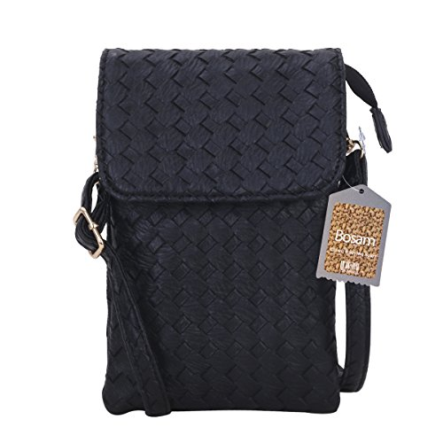 Bosam woven leather cell phone crossbody bag small purse for iphone 7 plus 5.5inch cell phones(Black)