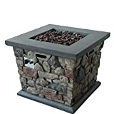 Cheap Great Deal Furniture Crawford Outdoor Stone Finished Square Fire Pit – 40,000 BTU