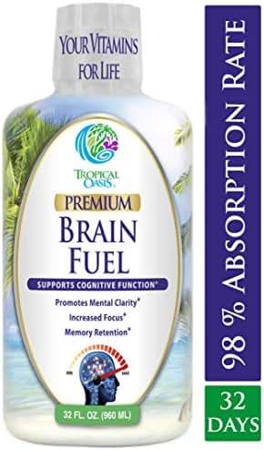 Brain Fuel - Liquid Brain Nootropic Supplement for Increased Mental Clarity, Focus, Concentration, Memory Retention- Fast Acting Liquid Formula - 32oz, 32 Serv