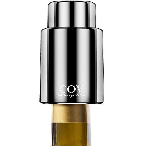 HEYIDA Wine Bottle Stopper, Wine Vacuum Plug and Beverage Bottle Stoppers with Food Grade Silicone, Reusable Wine Saver Sealer Pump Keeps Wine Fresh, Best Gift - Jet Black