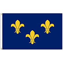 SoCal Flags® Brand Fleur De Lis Flag 3x5 Foot Polyester Blue 3 Large Gold - High Quality Weather Resistant Durable - 100d Material Not See Thru Like Other Brands (Blue Fleur De Lis)