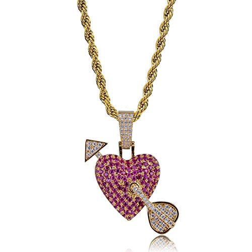 TOPGRILLZ Lip Kidd Arrow Heart Cupid Pendant Necklace Iced Out CZ 14K Gold Plated Fashion Jewelry Gifts (Gold Arrow Heart) ()