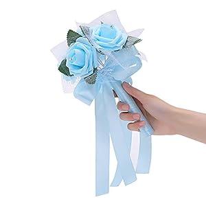 Yamalans 6 Heads Artificial Rose Foam Flowers DIY Wedding Bridal Bouquet Party Decors (Light Blue) 100