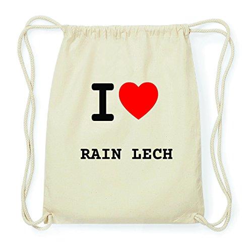 JOllify RAIN LECH Hipster Turnbeutel Tasche Rucksack aus Baumwolle - Farbe: natur Design: I love- Ich liebe wi2faut
