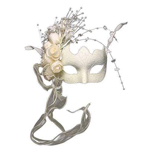 KBW Global Corp Bridal Ivory Venetian Half (Venetian Mask With Pearl)