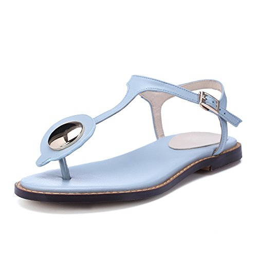 AgooLar Mujeres Sólido Material Suave Mini Tacón Hebilla Puntera Dividida Sandalia Azul