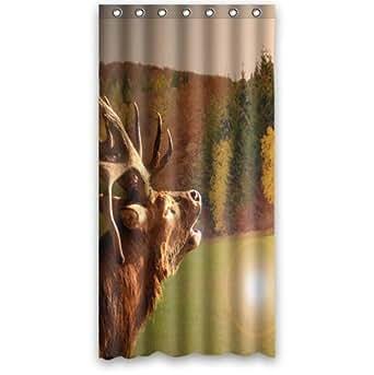custom 36 x 72 inches original deer shower curtain waterproof polyester fabric. Black Bedroom Furniture Sets. Home Design Ideas