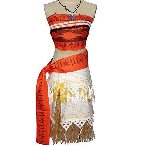 KUFV Moana Costume Halloween Cosplay Costume Skirt Set for Women Girls