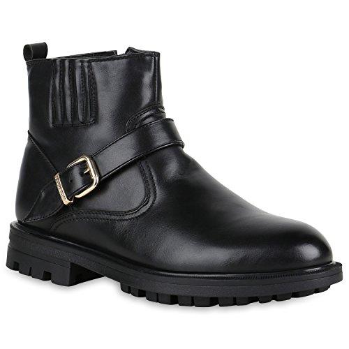 Stiefelparadies Herren Biker Boots Gefütterte Stiefel Leder-Optik Schuhe Derbe Profilsohle Stiefeletten Schnürboots Flandell Schwarz Schnallen Black