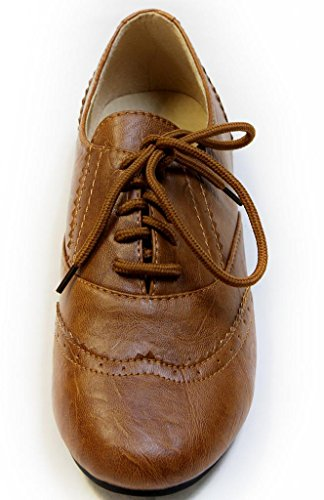 Bonnibel Oxy-1 lady's vintage classic casual pump flat laced up oxford sneaker PU oxfords Tan 9