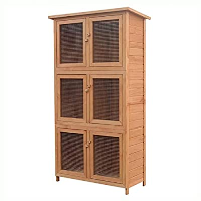 K&A Company Small Animal Habitat & Cage, Animal Rabbit Cage 6 Rooms Wood