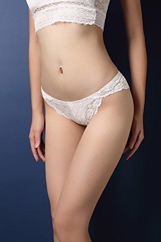 YALL-Sra. Ropa interior de cintura baja de la cadera conformación escritos respirables del hueco del cordón White