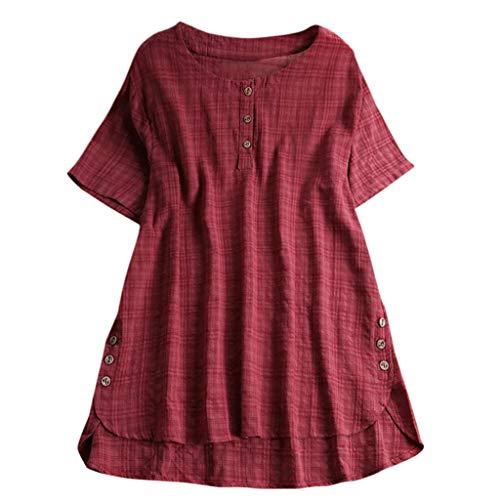 Fuladelt Women Loose Shirt, Womens Short Sleeve Shirt Spring Summer Cotton Linen Top Blouse Plus Size Jumper Tunic Wine