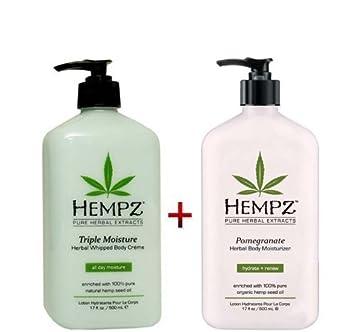 Hempz Whipped Body Creme – Triple Moisture Herbal 17oz And Pomegranate Herbal Body Moisturizer 17oz