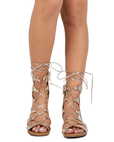 Breckelles EA50 Women Metallic Open Toe Gilly Tie Wrap Gladiator Sandal - Champagne (Size: 8.5) (Champagne Wedge Sandals)