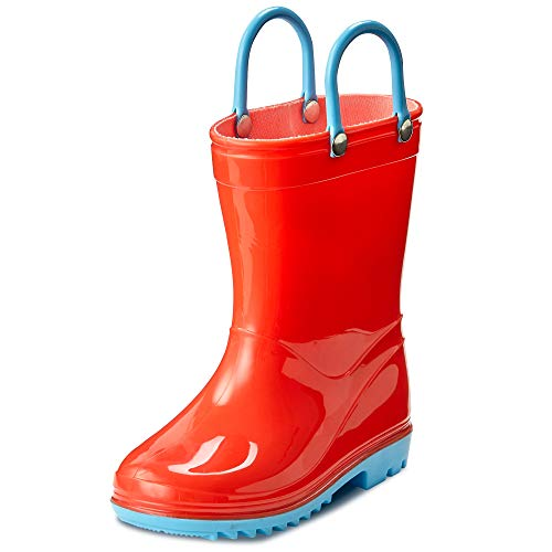 Puddle Play Toddler and Kids Waterproof Solid Rain Boots with Easy-On Handles - Size 11 Little Kid - Orange with Blue Trimming GNR87554