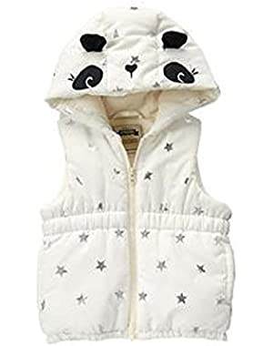 Toddler Girl's Panda Puffer Vest