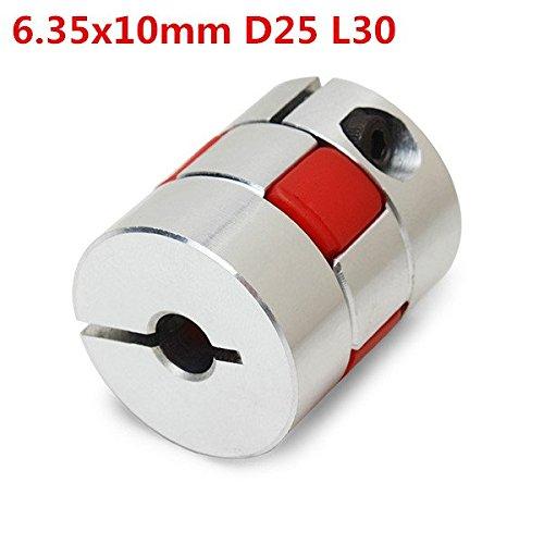 Piezas de aluminio flexible 6.35x10mm araña Acoplamiento del eje motor de pasos del CNC Conectador del acoplador OD25mm x...